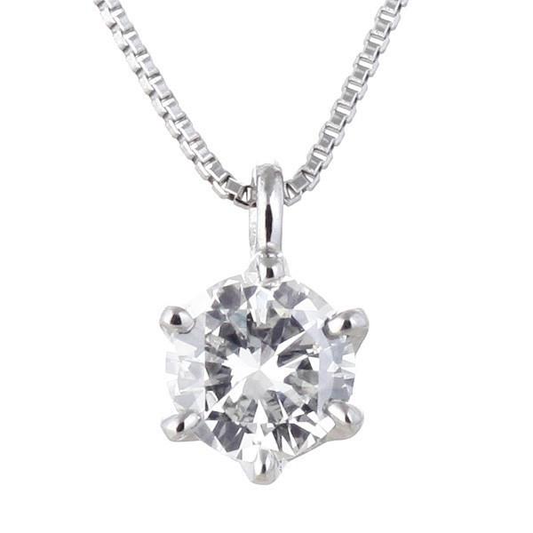 プラチナ 一粒 ダイヤモンド シンプル ネックレス | M131-050001 ...