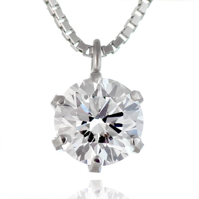プラチナ 一粒 ダイヤモンド シンプル ネックレス | M131-050002 ...